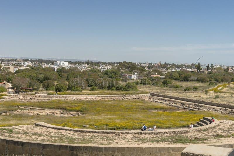 Ruines du grec ancien et de la ville romaine de Paphos photo stock