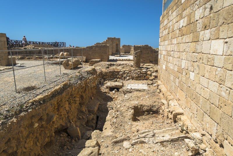 Ruines du grec ancien et de la ville romaine de Paphos Célèbre, photos libres de droits