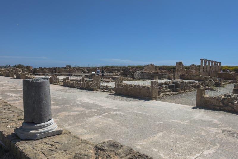 Ruines du grec ancien et de la ville romaine de Paphos Célèbre, images stock