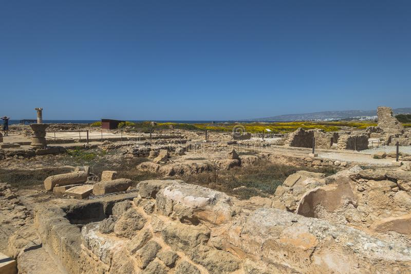 Ruines du grec ancien et de la ville romaine de Paphos Célèbre, photos stock