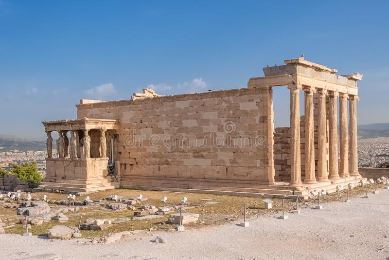 Ruines du temple d'Erechtheion ? la colline d'Acropole ? Ath?nes images libres de droits
