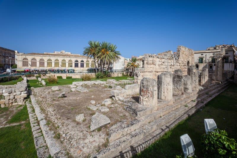 Ruines du temple OD Apollo à Syracuse photo stock