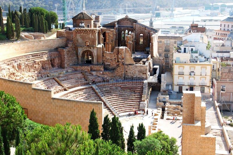 Ruines du vieil amphithéâtre à Carthagène Espagne photo libre de droits