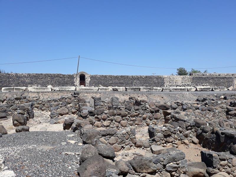Ruines du vieux village de Capernaum, Israël photographie stock