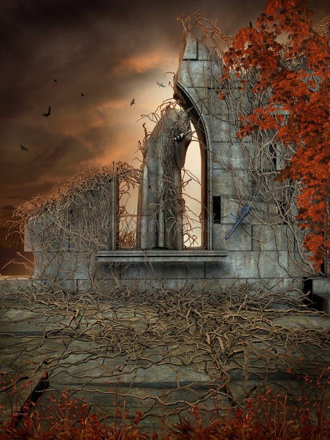 Ruines gothiques avec les vignes mortes illustration libre de droits