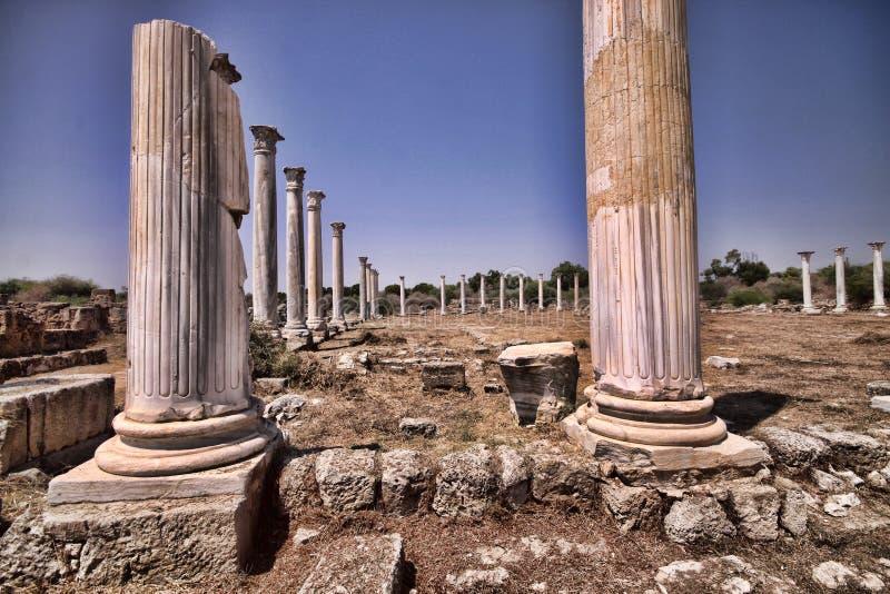 Ruines historiques significatives des salamis, Chypre du nord photos libres de droits