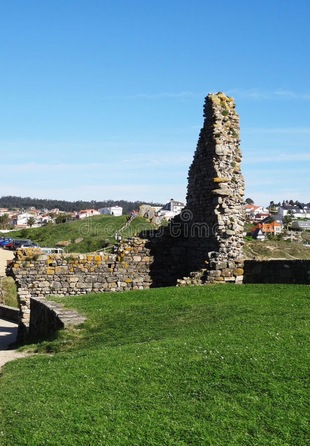 Ruines Lanzada church - North Coast Spain. Ruines in the pathway to Ermida da Nosa Señora da Lanzada (church), Galicia, North Coast Spain royalty free stock images