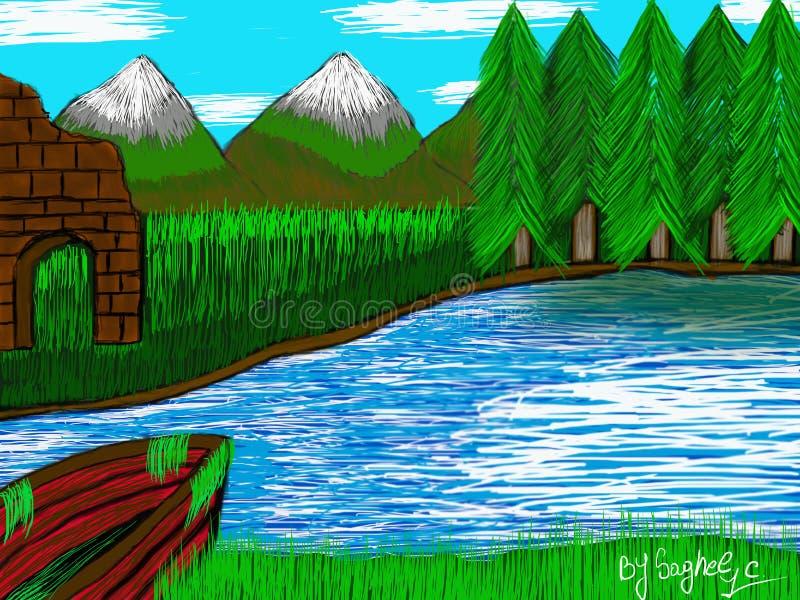 Ruines par le lac photo libre de droits