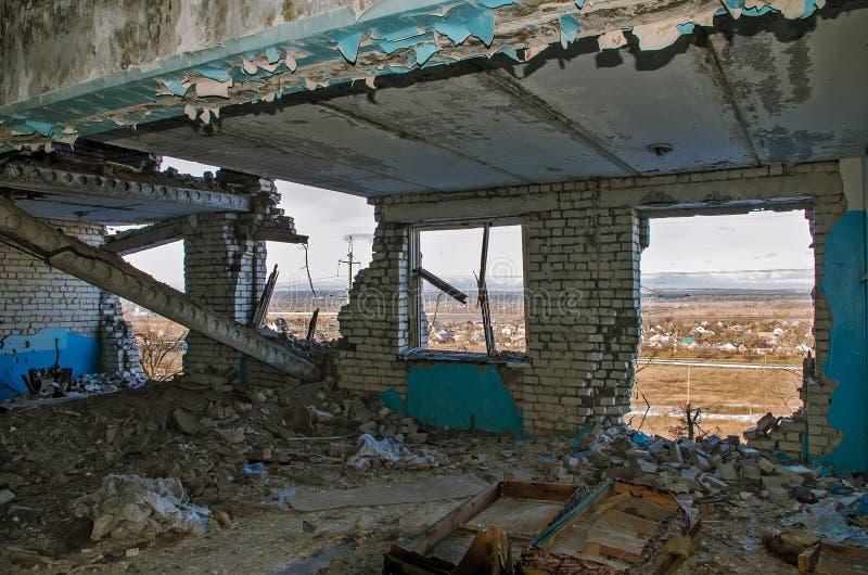 Ruines po ATO w Ukraina fotografia stock