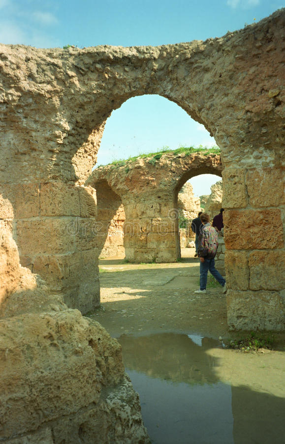 Ruines romaines de bain, Carthage, Tunisie photos libres de droits