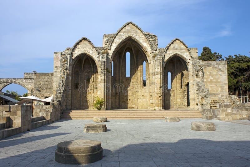 Ruines Romanic de basilique, Rhodes photographie stock