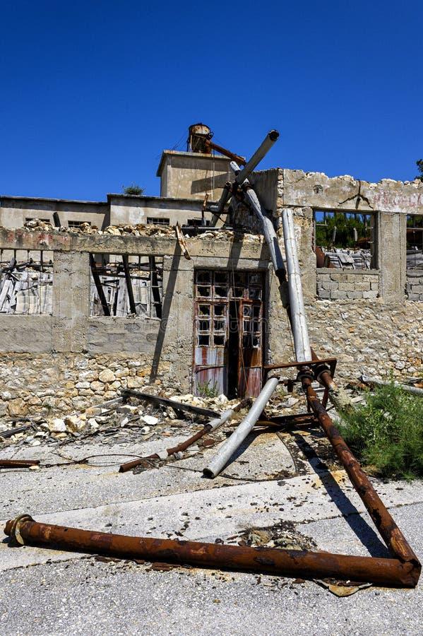 Ruines sur la prison d'otok de Goli en Croatie photo stock