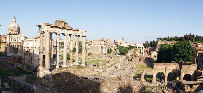 Ruinespanorama van Rome royalty-vrije stock foto's