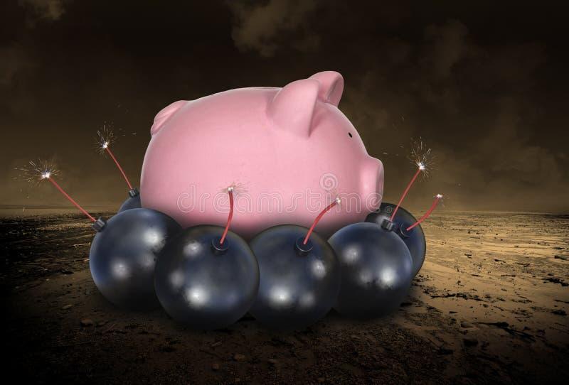 Ruinez, en enregistrant l'argent, dette, investissant illustration stock