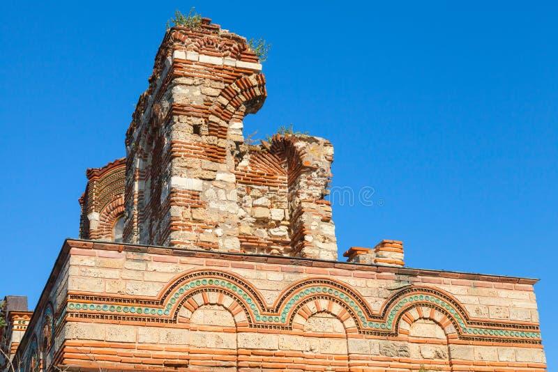 Ruinierte Kirche von Christus Pantokrator, in altem Nessebar lizenzfreies stockfoto