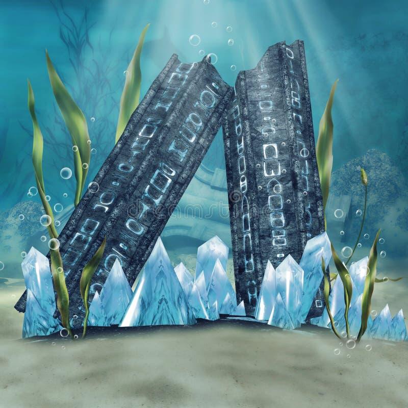 Ruinierte Spalten und Kristalle lizenzfreie abbildung