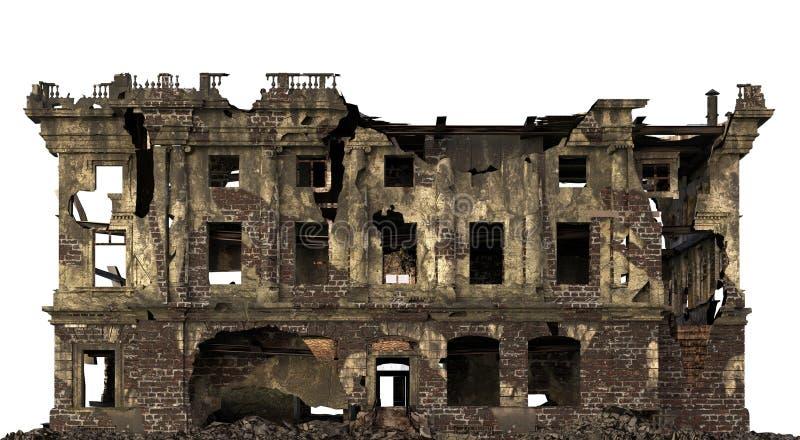 Ruiniertes Gebäude lokalisiert auf weißer Illustration 3D stockbild
