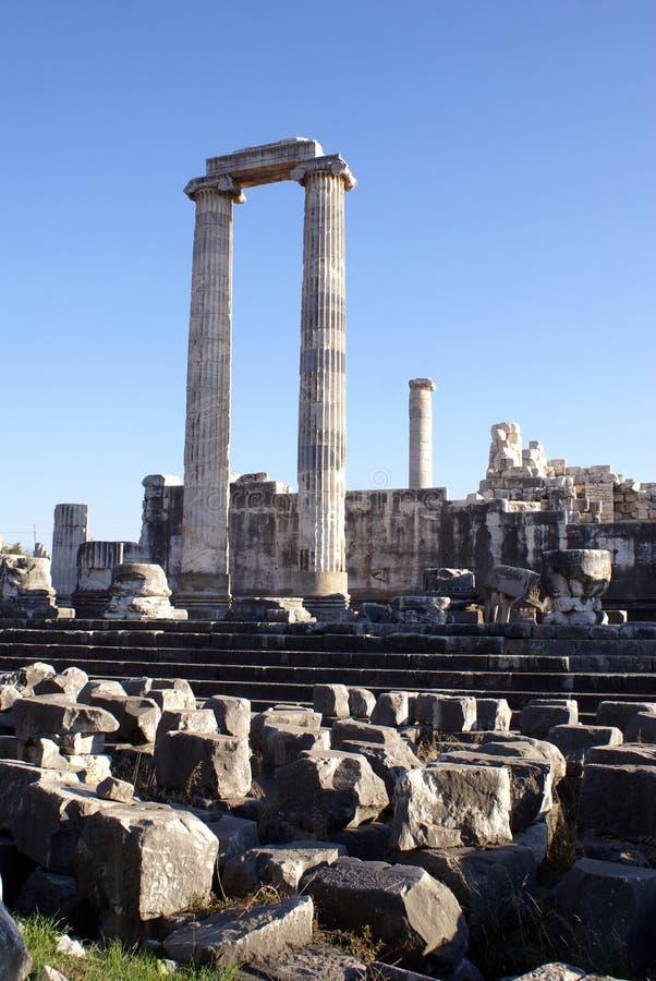 Ruins. Columns and ruins of Apollo temple in Didim, Turkey stock image
