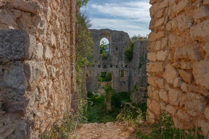 The ruins of the abandoned castle Rocca di Piediluco on the hi royalty free stock photos