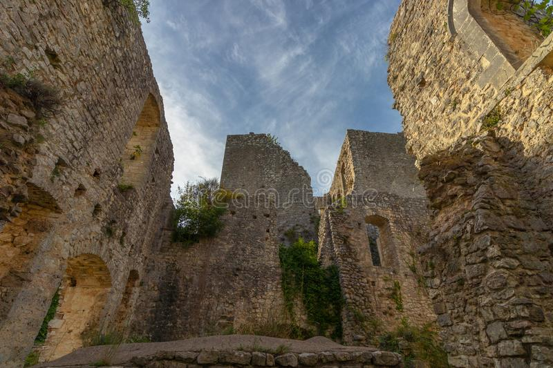 The ruins of the abandoned castle Rocca di Piediluco on the hi royalty free stock photo