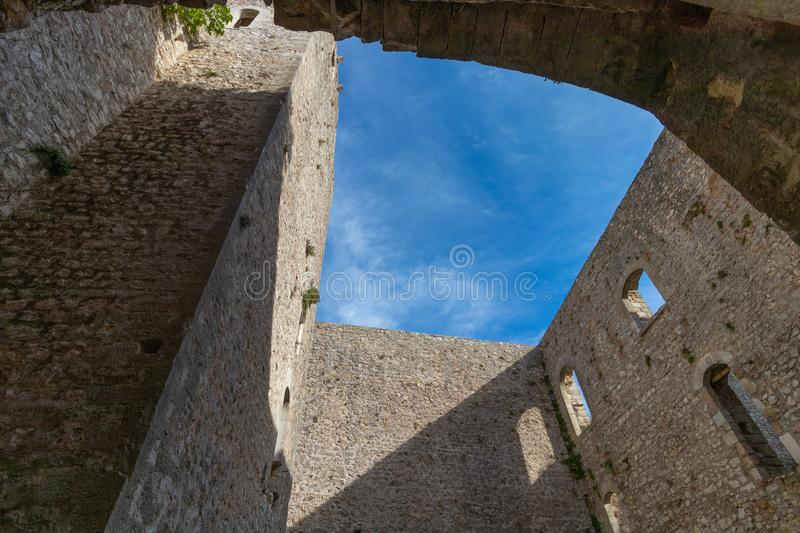 The ruins of the abandoned castle Rocca di Piediluco on the hi royalty free stock photography