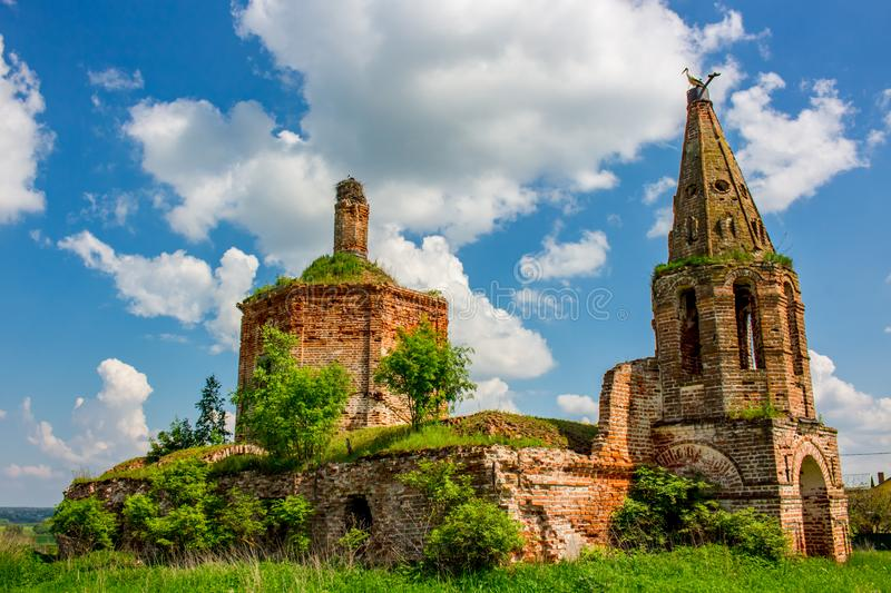 Ruins of the abandoned church of St. John the Evangelist of the 18th century stock photography