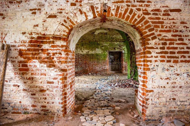 Ruins of the abandoned church of St. John the Evangelist of the 18th century in Fedorovsky royalty free stock photo