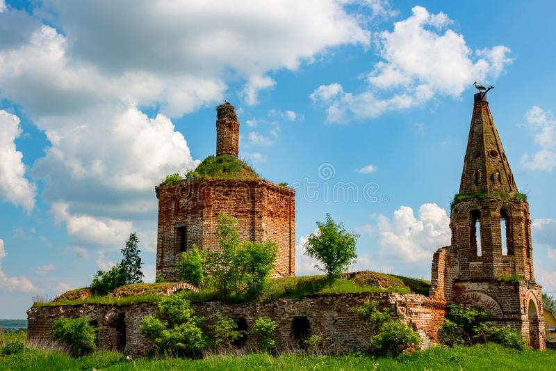 Ruins of the abandoned church of St. John the Evangelist of the 18th century royalty free stock images