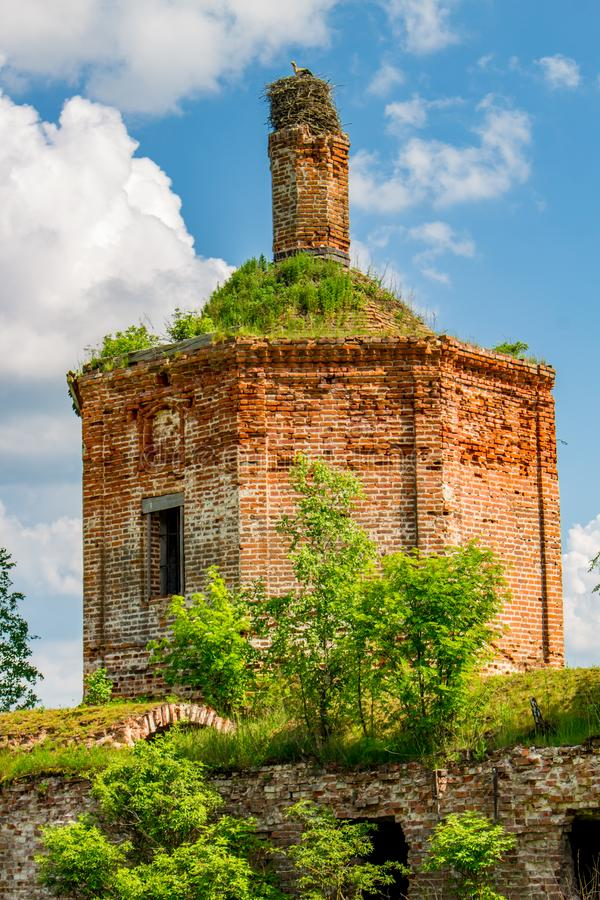 Ruins of the abandoned church of St. John the Evangelist of the 18th century royalty free stock photos