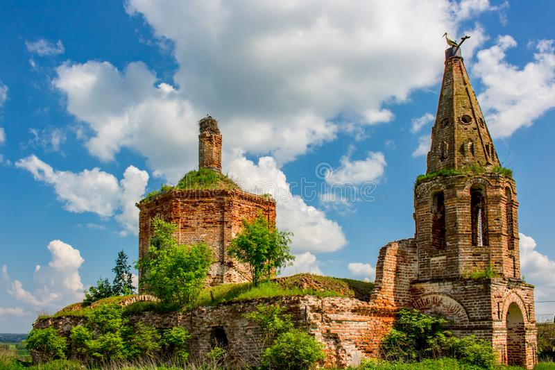 Ruins of the abandoned church of St. John the Evangelist of the 18th century. In Fedorovsky. Zhukovsky District, Kaluzhskaya Region, Russia royalty free stock photography