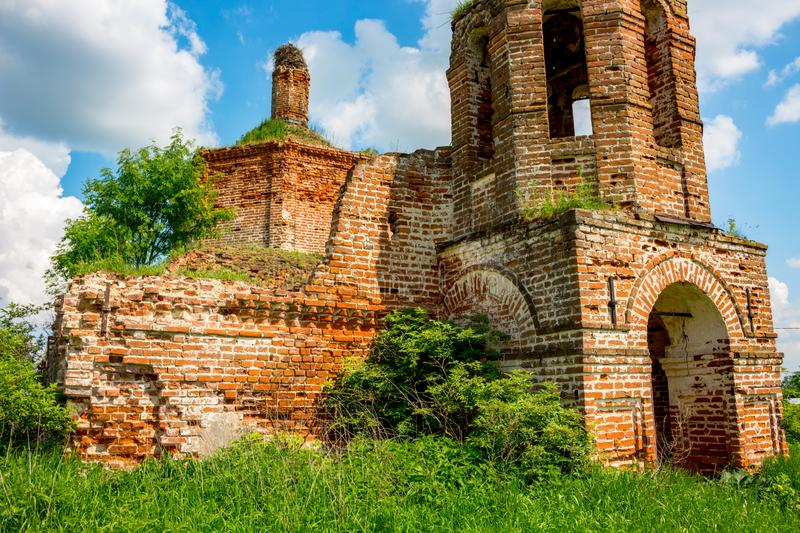 Ruins of the abandoned church of St. John the Evangelist of the 18th century. In Fedorovsky. Zhukovsky District, Kaluzhskaya Region, Russia stock images
