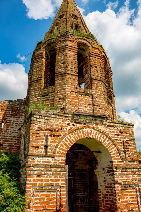 Ruins of the abandoned church of St. John the Evangelist of the 18th century royalty free stock image