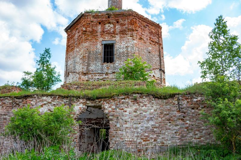 Ruins of the abandoned church of St. John the Evangelist of the 18th century stock image