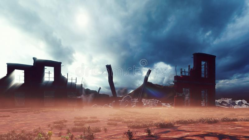 The ruins of an abandoned destroyed post-apocalyptic city at sunset. The Concept Of Apocalypse. 3D Rendering stock illustration