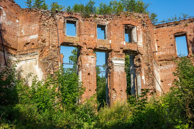 Ruins of an abandoned farmstead at the end of the 18th century stock photos