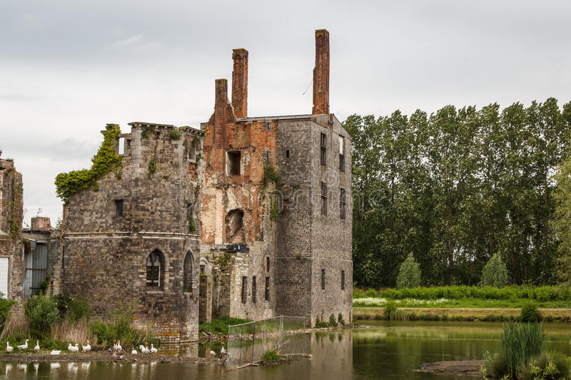 Ruins of the abandoned Havre castle stock photo