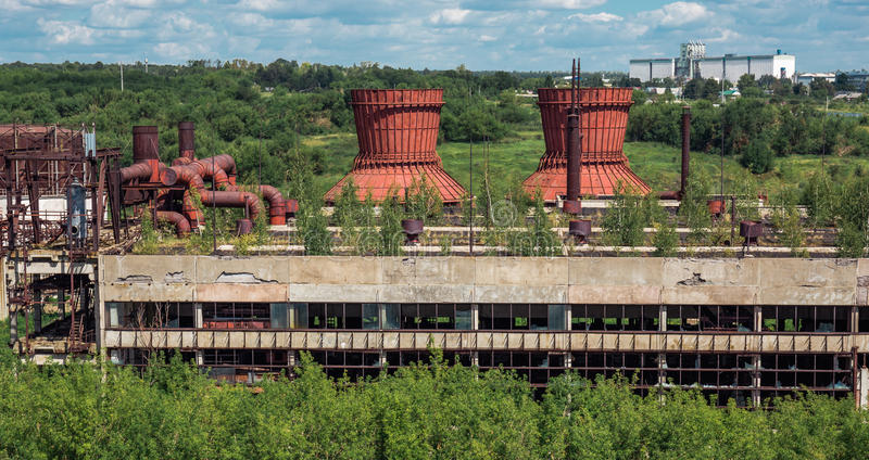 Ruins of abandoned plant or factory. In Europe stock image