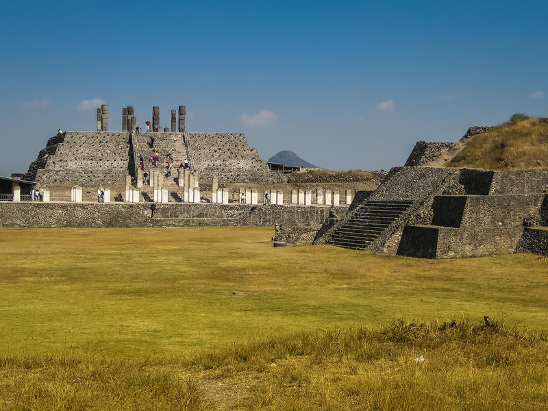 Ruins of abandoned Tula town, Mexico. Tula is a Mesoamerican archeological site, which was an important regional center which reached its height as the capital stock images