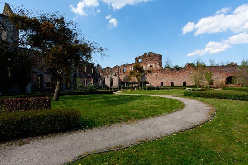 Ruins Abbey Aulne Thuin Landelies, Belgium stock photo