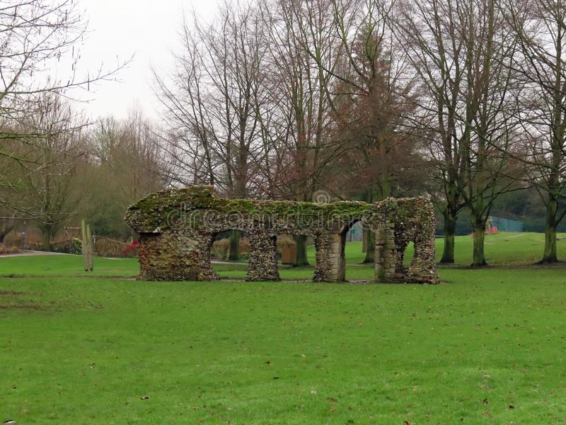 Ruins in the Abbey Gardens. Ruins of the Abbey of St Edmund royalty free stock photography