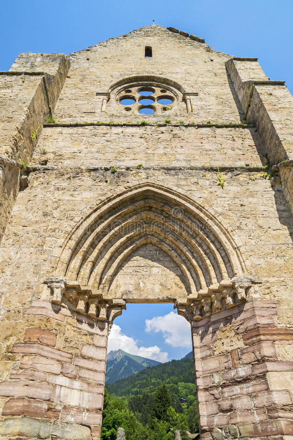Ruins of abbey Saint Jean d'Aulps ,France stock image