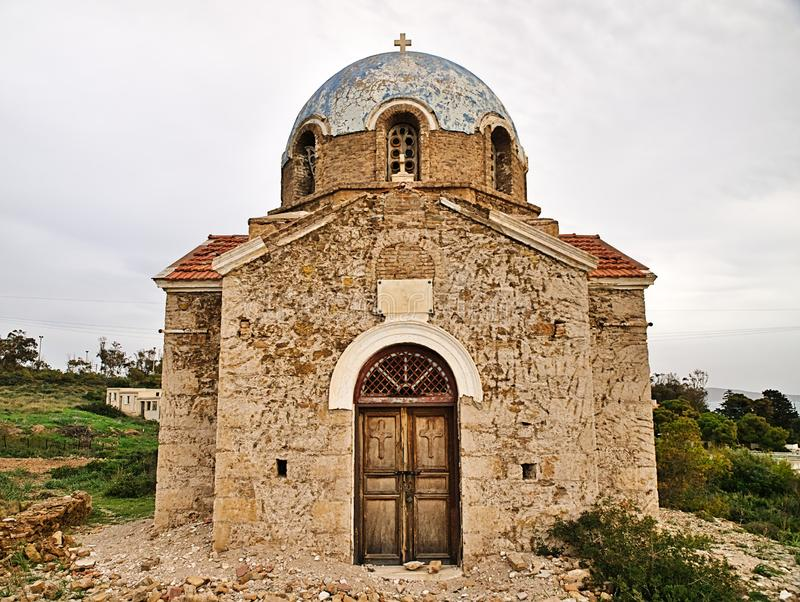 Ruins of Agios Saint Ioannis John Prodromos orthodox church stock photo