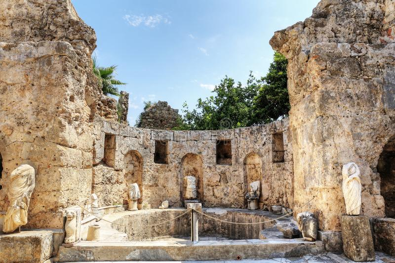 Ruins of agora, ancient city in Side in a beautiful summer day, Antalya, Turkey stock images