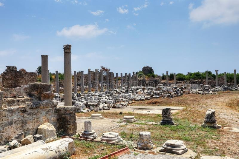 Ruins of agora, ancient city in Side in a beautiful summer day, Antalya, Turkey royalty free stock image