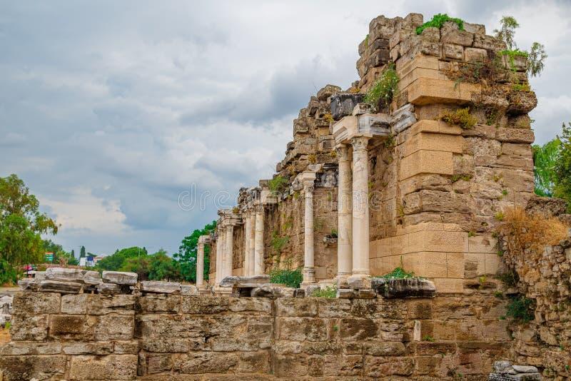The ruins of agora in Side, Library, Antalya, Turkey stock photos