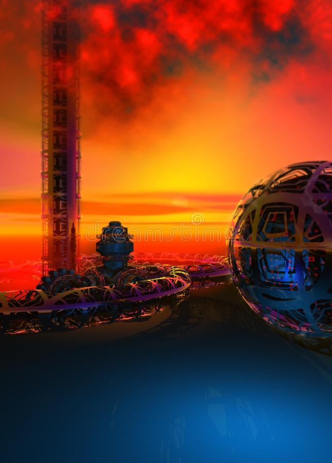 The ruins of an alien civilization on an unknown planet, sunset sky, blue ground, 3d illustration royalty free illustration