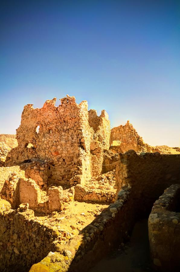 Ruins of the Amun Oracle temple in Siwa oasis, Egypt. Ruins of the Amun Oracle temple . Siwa oasis, Egypt royalty free stock images