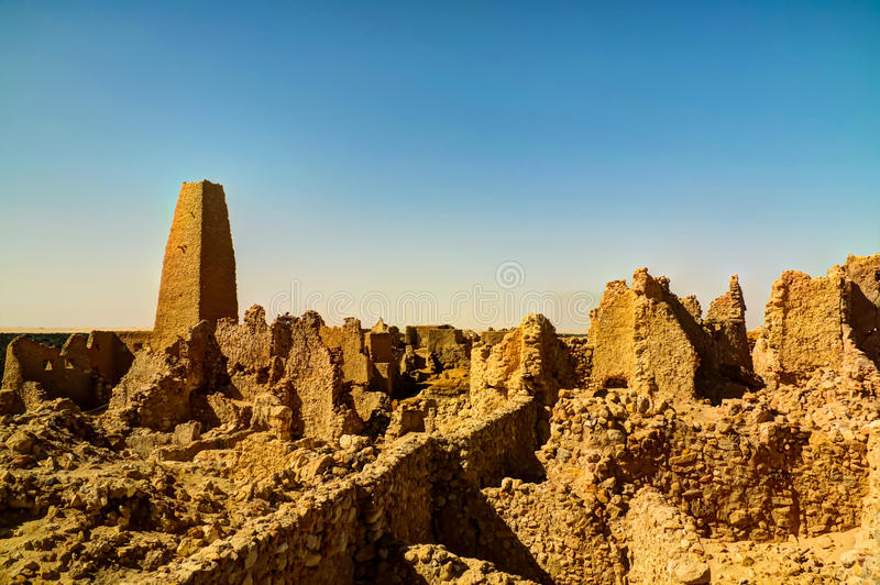 Ruins of the Amun Oracle temple, Siwa oasis, Egypt. Ruins of the Amun Oracle temple in Siwa oasis, Egypt stock images
