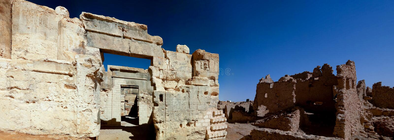 Ruins of the Amun Oracle temple in Siwa oasis, Egypt. Ruins of the Amun Oracle temple . Siwa oasis, Egypt royalty free stock photo