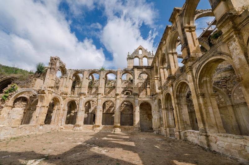Ruins of an ancient abandoned monastery in Santa Maria de rioseco, Burgos, Spain. stock photography